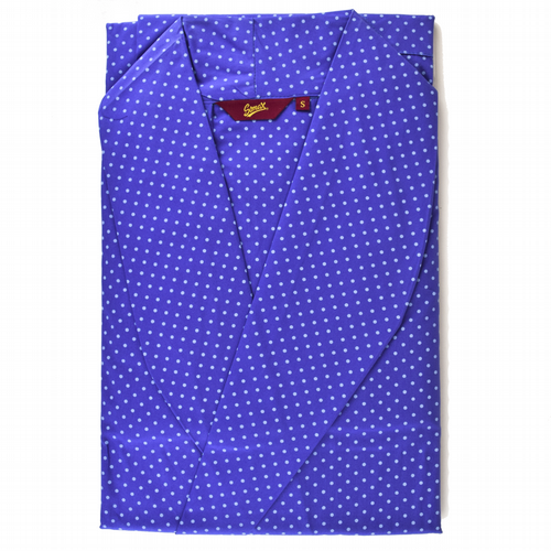 Dressing Gown  - Luxury Cotton From Ireland -  Blue Polka Dot